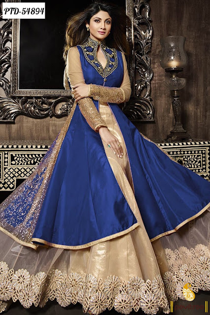 Purple beige chiffon Shipla Shetty anarkali salwar suit online shopping with discount offer sale at lowest price