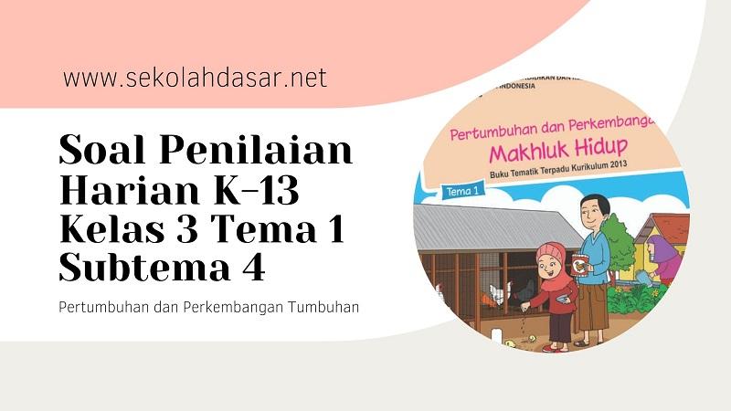 Soal Penilaian Harian K-13 Kelas 3 Tema 1 Subtema 4