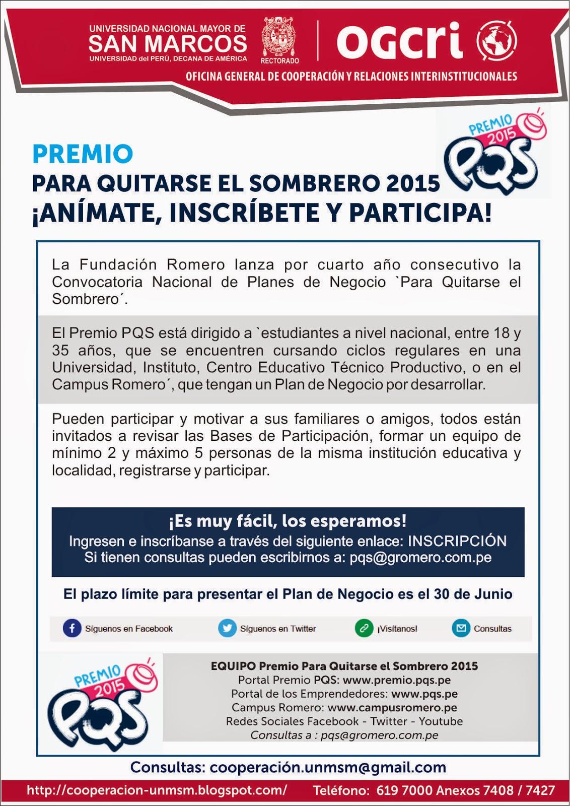 La Fundación Romero lanza por cuarto año consecutivo la Convocatoria  Nacional de Planes de Negocio `Para Quitarse el Sombrero´. Este año hemos  optimizado ... 1d4b2515c55
