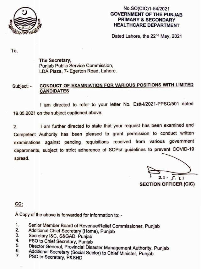 PERMISSION TO PPSC TO CONDUCT EXAMINATION FOR VARIOUS POSITIONS WITH LIMITED CANDIDATES