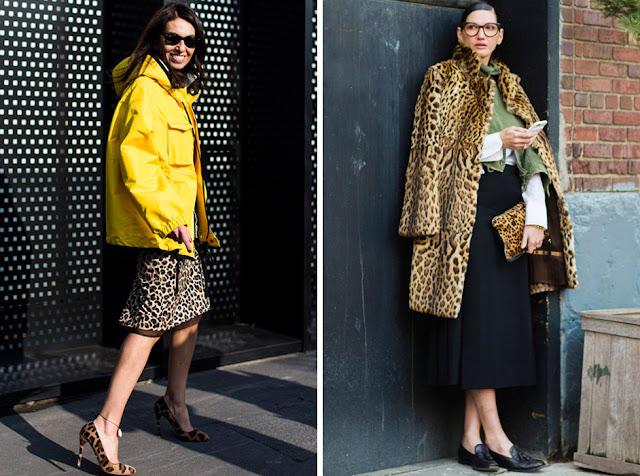Сочетание леопардовой юбки и пальто с леопардовыми аксессуарами