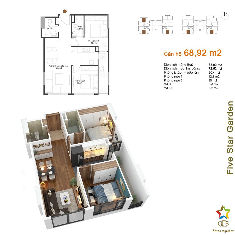 Thiết kế căn hộ 68,92m2 Five Star Kim Giang