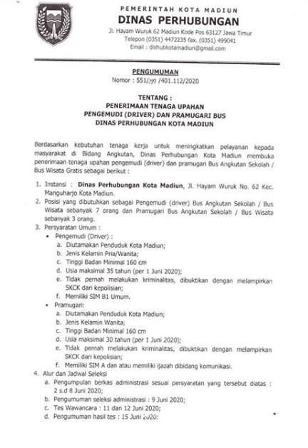 Lowongan Kerja Dinas Perhubungan Kota Madiun Juni 2020