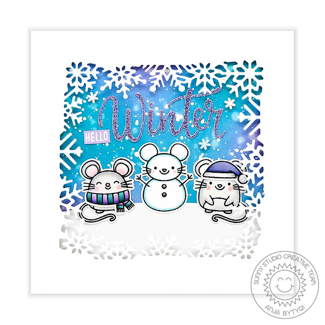 Sunny Studio Stamps: Merry Mice Layered Snowflake Frame Die Winter Themed Holiday Card by Anja Bytyqi