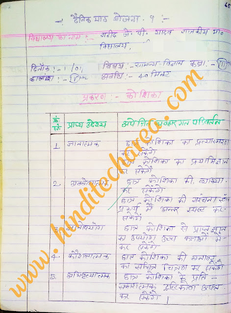 Sample b.ed lesson plan for science in hindi class 8