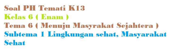 Soal PH Kelas 6 Tema 6 Subtema 1 Lingkungan sehat, Masyarakat Sehat