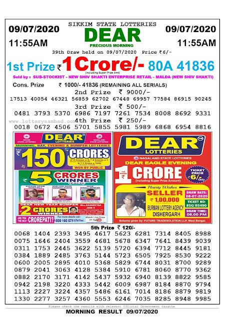 Sikkim State Lottery Sambad 09-07-2090 Today Result 11.55 AM