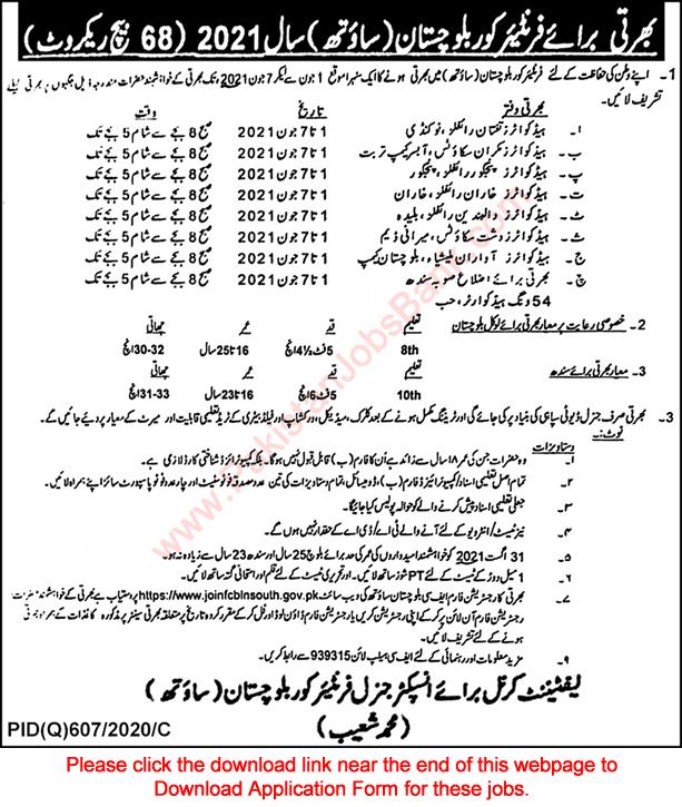Frontier Corps FC South Balochistan Jobs 2021 in Pakistan