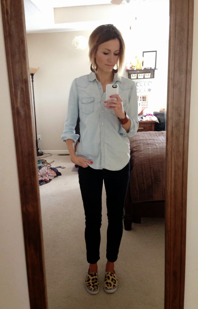 Western denim shirt, black jeans and leopard sneakers