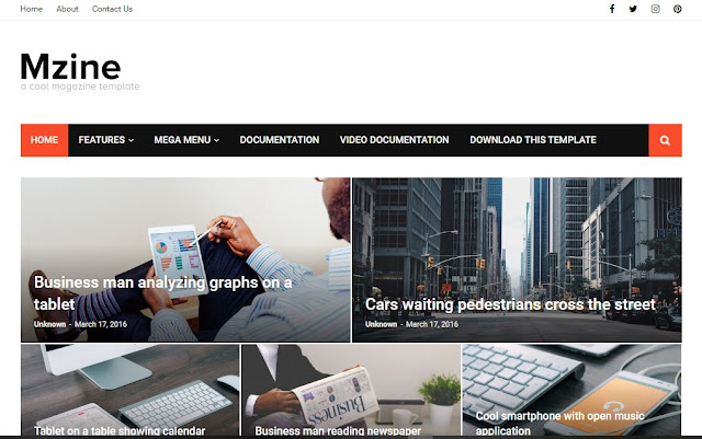MZine News Magazine Blogger Template