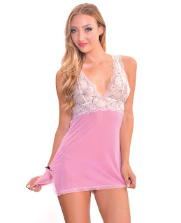 Women's Pink Sheer Babydoll w/Lace Top