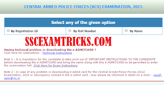 UPSC AC ADMIT CARD 2015