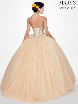 Dark Champagne/aqua Color Ball Gown Mary's Design Dress back side