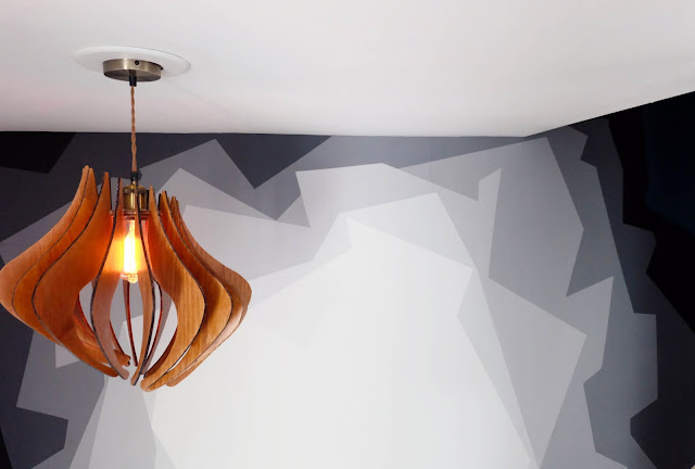 gray paint mural faux pendant light fixture DIY