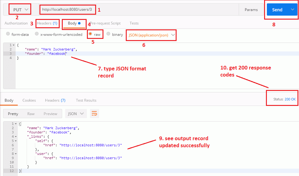 update user record by spring data rest api