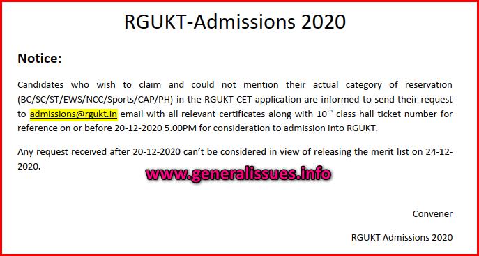 RGUKT CET Merit List 2020