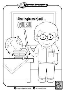 Gambar Mewarnai Guru Sedang Mengajar Di Kelas