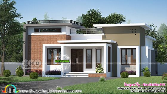 Front view of one floor flat roof style modern house