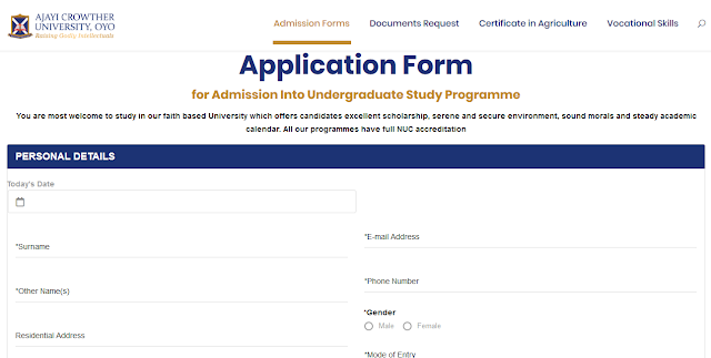 ACU Post-UTME / DE Screening Form 2020/2021 [Undergraduate]