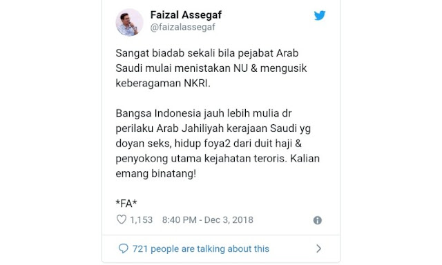 Kecam Faizal Assegaf, Advokat: Ente Bahlul, Memaki Nenek Moyang Sendiri