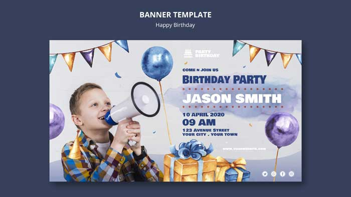 Banner Template With Birthday Party