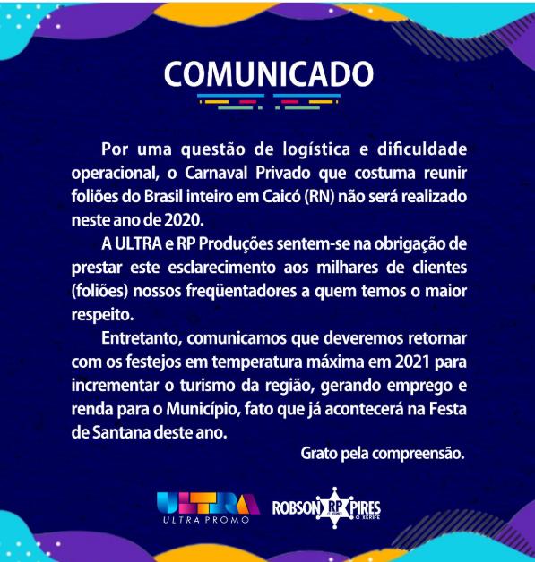 Em Caicó não haverá carnaval privado em 2020 com as grande atrações nacionais