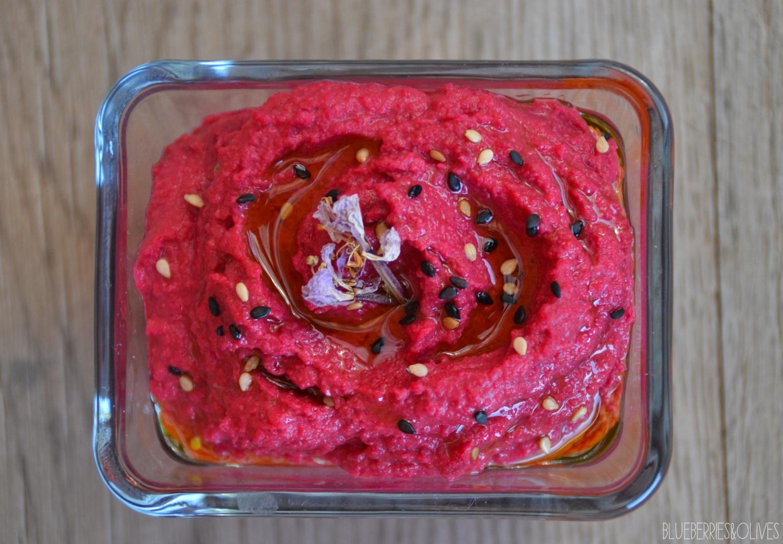 Hummus colorido de espinacas y remolacha 4