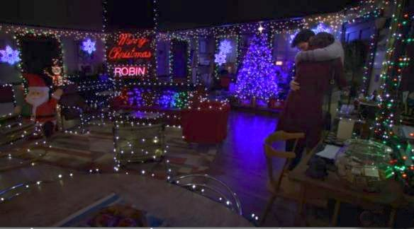How I Met Your Mother - Ted and Robin embrace in living decorated with Christmas lights