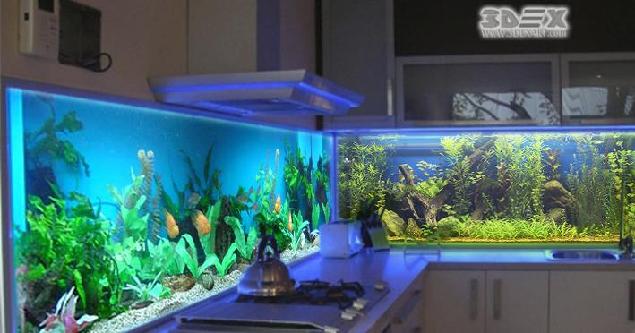 Fantastic 3D kitchen backsplash designs on glass panels on ...