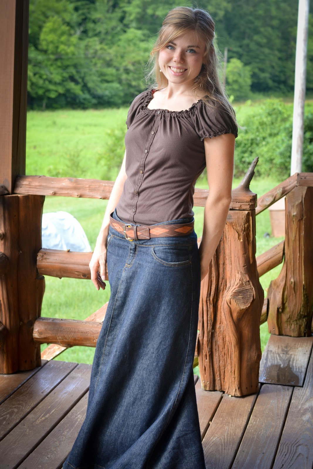 Sz S Western Denim Skirt Elastic Waist Dungaree Blue Jean |Western Long Denim Skirts Modest