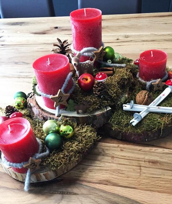 DIY Adventskranz Holzscheiben