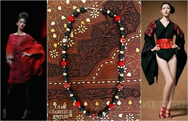 Glam Chameleon Jewelry red cloisonne bead black agate coral necklace