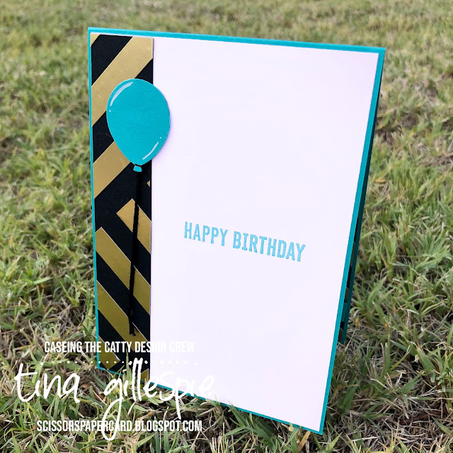scissorspapercard, Stampin' Up!, CASEing The Catty, Itty Bitty Birthdays, Gold Foil