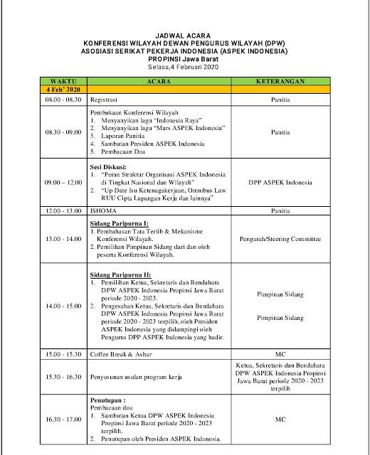 Jadwal AcaraKonfrensi Wilayah Aspek Jawa barat 4 febuari 2020