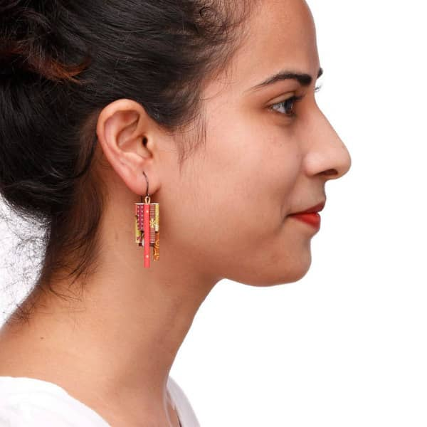 colorful, patterned paper vertical tube earrings