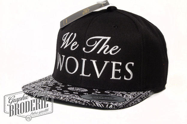 broderie graphic please marquage sur textile casquette personnalis e logo we the wolves brod. Black Bedroom Furniture Sets. Home Design Ideas
