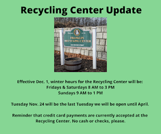 Beaver St Recycling Center - Open Hours Changed for Winter