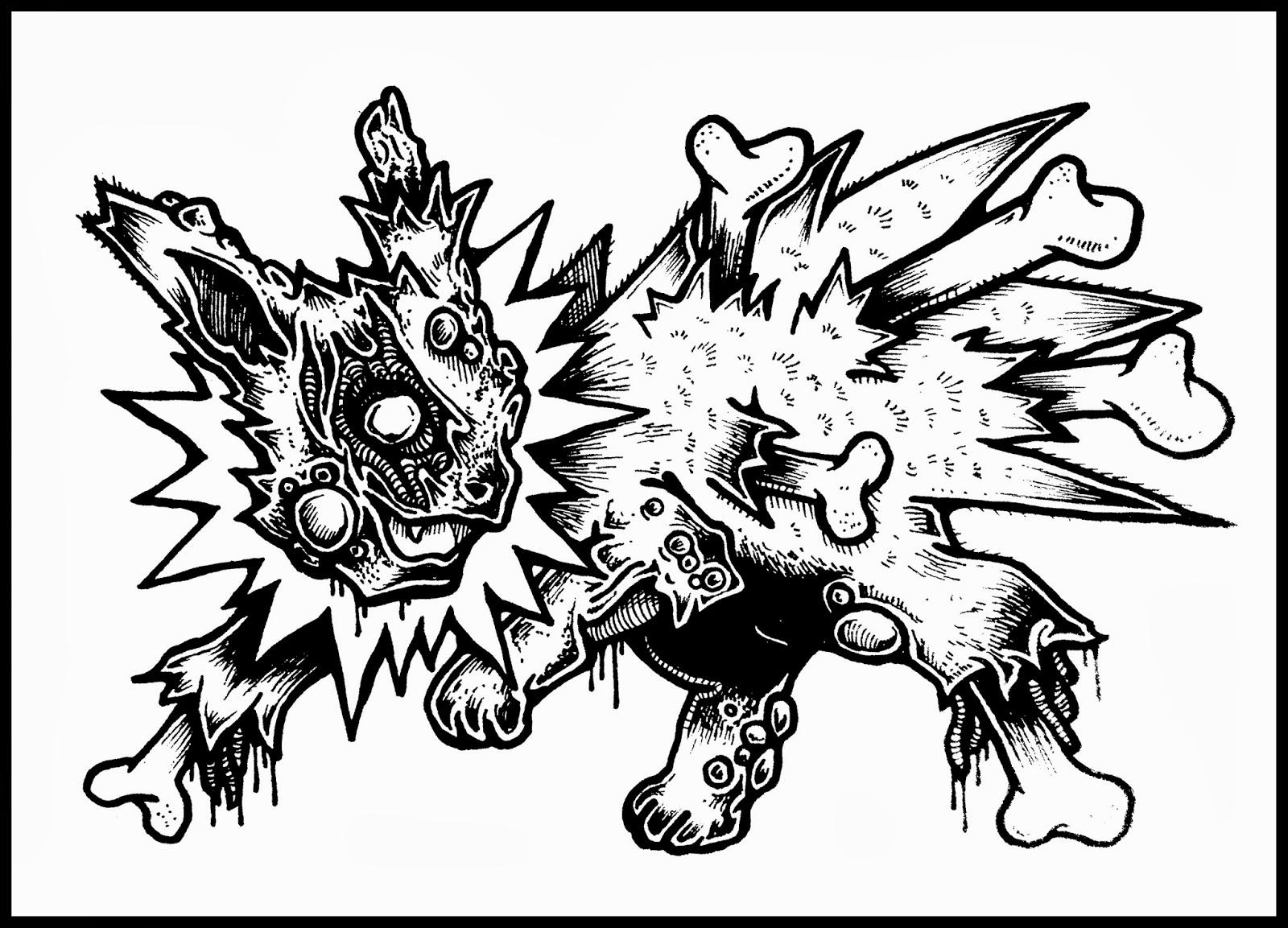 daryl hobson artwork zombie pokemon (eevee evolutions )