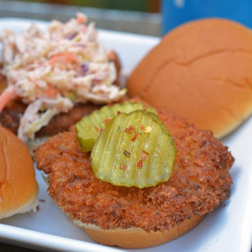 Fried pork chop sliders with Olde Vidern's spicy pickles