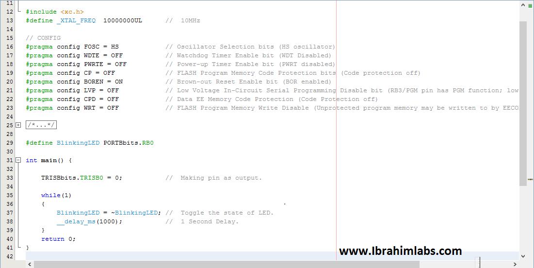 LED Blinking PIC16F877 Code + Proteus Simulation using xc8 | IbrahimLabs