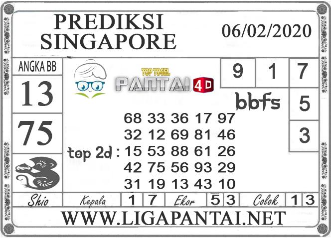 PREDIKSI TOGEL SINGAPORE PANTAI4D 06 FEBRUARI 2020