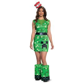 Minecraft Disguise Creeper Female Adult Costume Gadget
