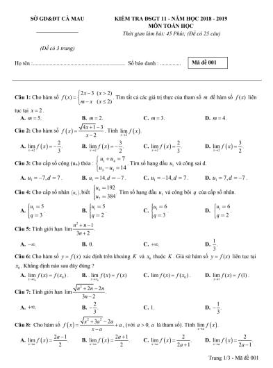 Đề kiểm tra chương 3 dãy số - đại số và giải tích 11 - có đáp án