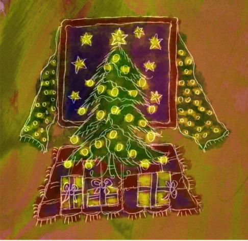 Vízfestékkel készült, feldíszített karácsonyfa csillaggal tetején, alatta karácsonyi ajándékok, szól a Mennyből az angyal eljött hozzátok, pásztorok.
