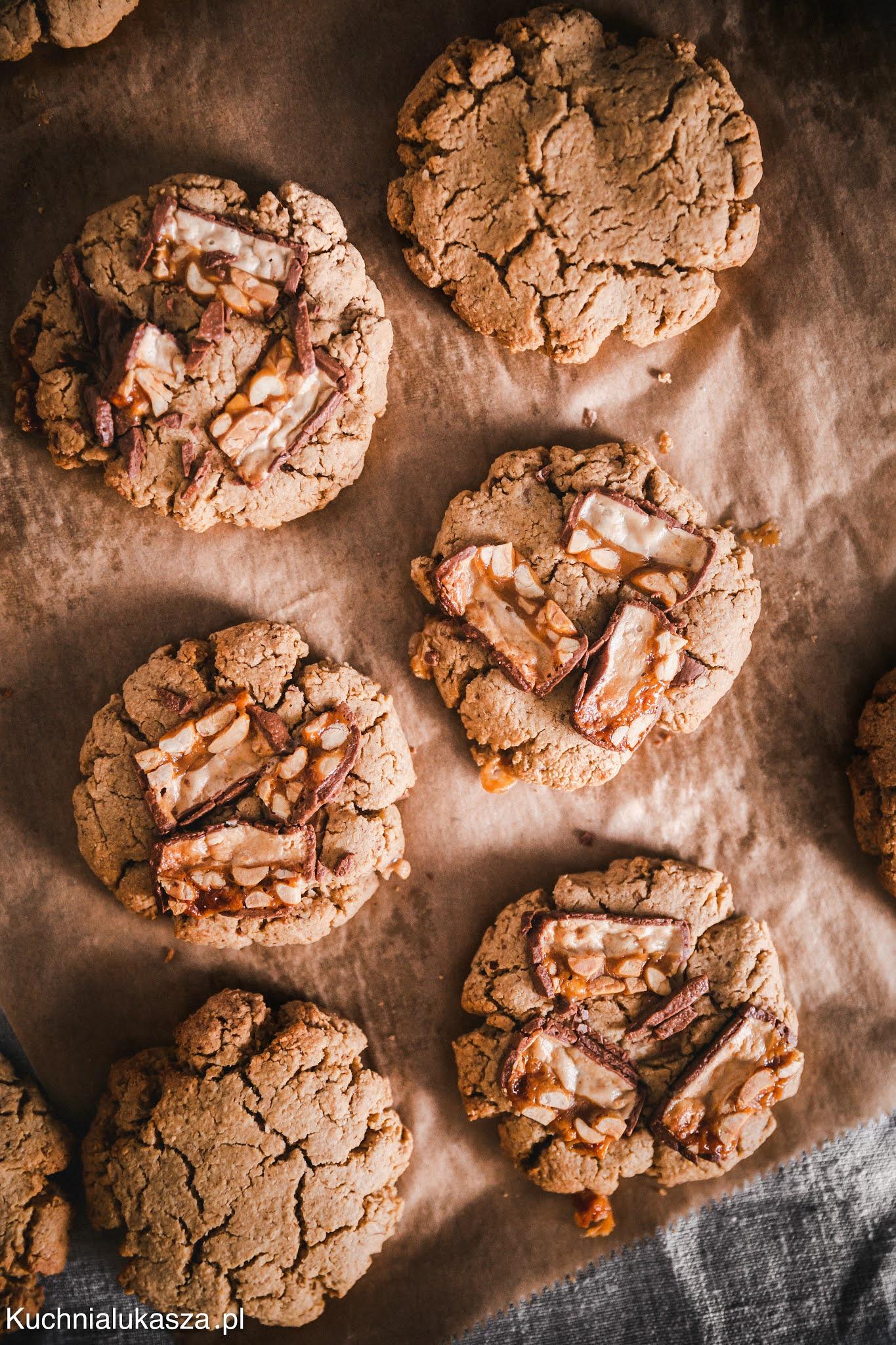 Ciągnące ciasteczka owsiane snickers