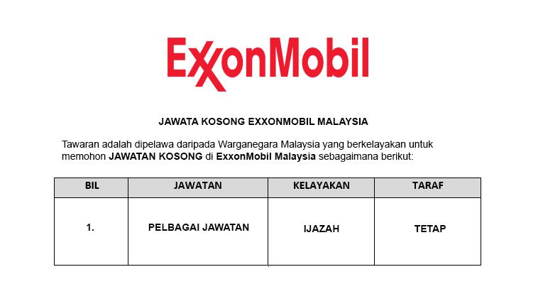 ExxonMobil Exploration and Production Malaysia Inc [ Jawatan Kosong ]