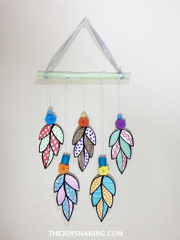 Beautiful wall hanging made with paper leaves