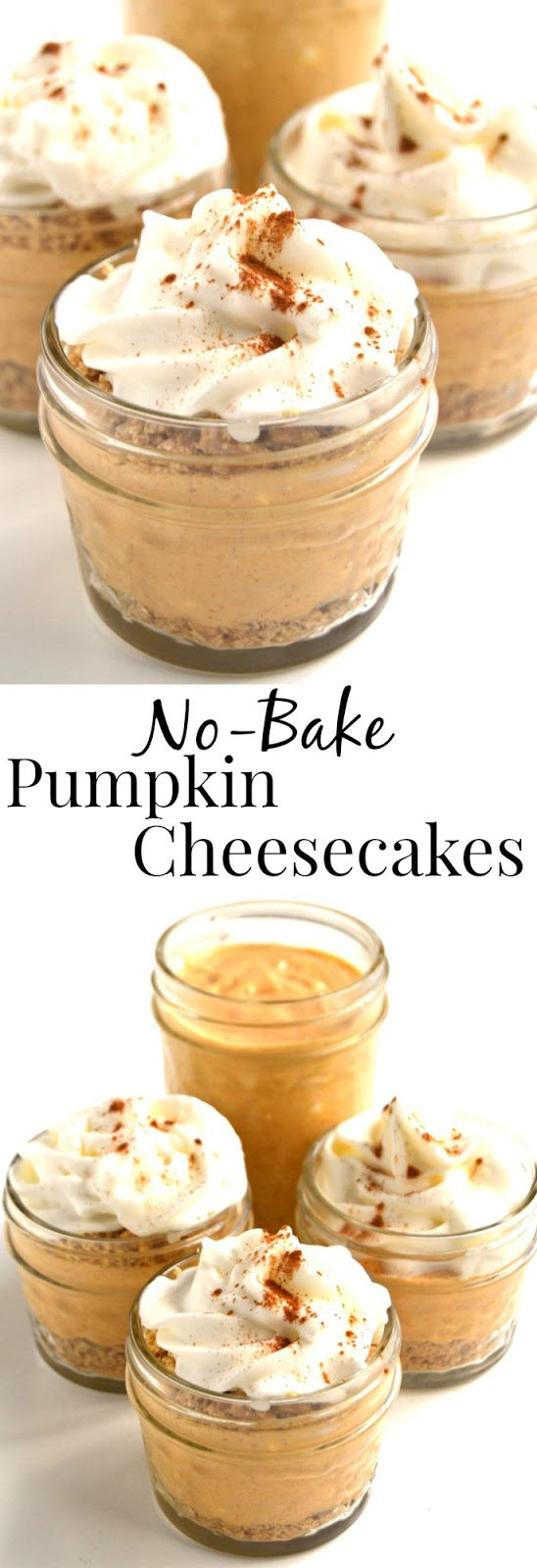 No-Bake Pumpkin Cheesecakes take 10 minutes to make and are much healthier than your typical cheesecake! Served in little jars, they are the perfect dessert for fall! www.nutritionistreviews.com