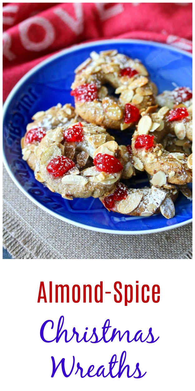 Almond-Spice Christmas Wreath Cookies  #cookies #glutenfree #christmascookies #maraschinocherries