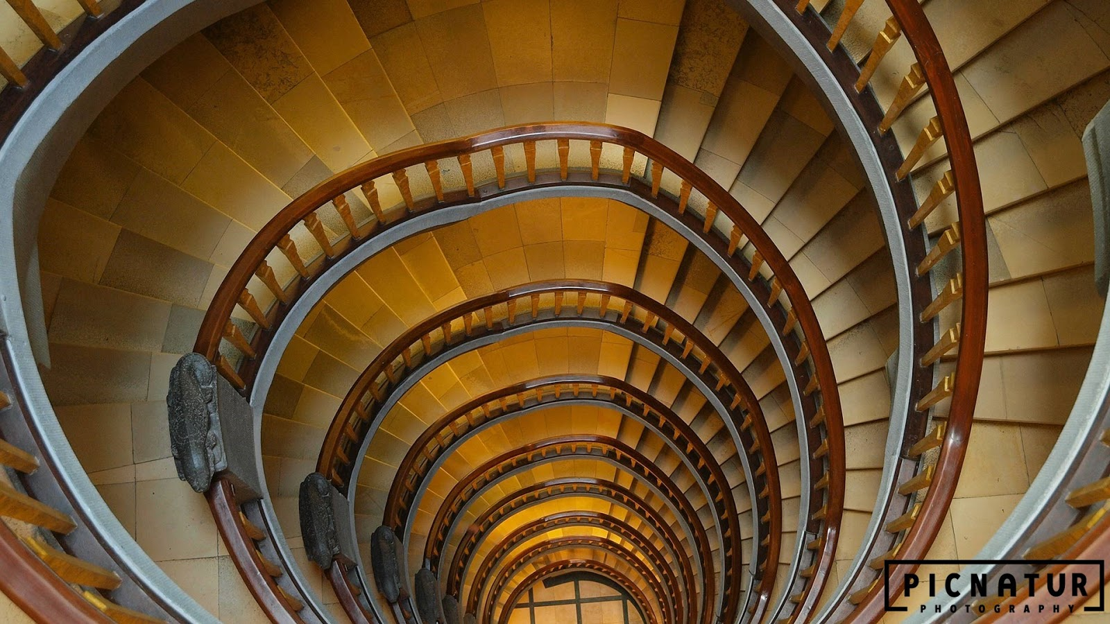 A spiral staircase in Hamburg, Germany